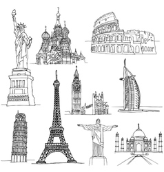 Sketches of Famous Places vector image