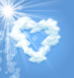 Sun Fluffy Cloud Shape Heart Love Symbol vector image vector image