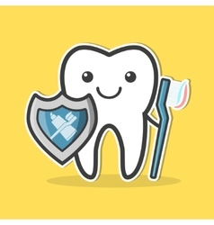 Tooth with shield and toothbrush vector image vector image