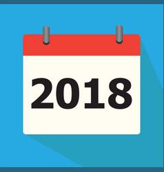 calendar 2018 icon on blue background calendar vector image vector image