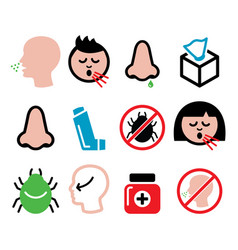 cold flu icons - nasal infection allergy nose vector image