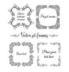 hand drawn flourish square frames collection vector image vector image