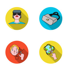 Innovation man head hand virtual reality set vector