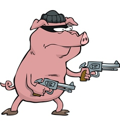 pig robber with guns vector image vector image