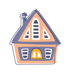 small wooden hut in blue and pink color cute vector image vector image