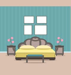 bedroom living room interior design in flat style vector image