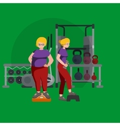 before and after weight loss women concept fitness vector image