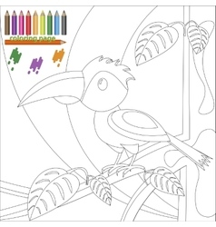 Coloring page of bird on the tree for children vector image