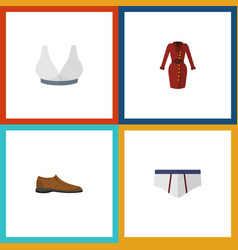 Flat icon garment set of clothes male footware vector