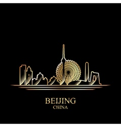 Gold silhouette of Beijing on black background vector image