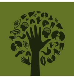 Hand a tree3 vector image vector image
