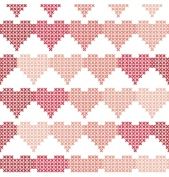 Seamless pattern with embroidered hearts vector image vector image