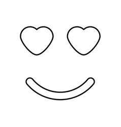 smile with heart eyes black color icon vector image
