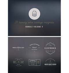 Trendy Retro Vintage Insignias Bundle Volume vector image vector image