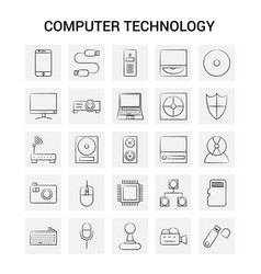 25 hand drawn computer technology icon set gray vector