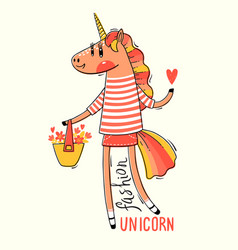 A rainbow unicorn in vector