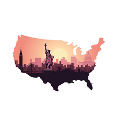 abstract city skyline with sights usa at vector image