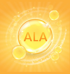 Ala from omega-3 fatty acid supplement shiny oil vector