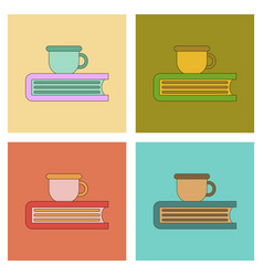 Assembly flat icons book cup vector