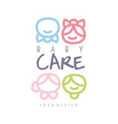 Baby care logo design emblem with kid faces vector