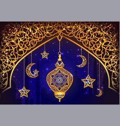 Background with arabic lantern vector