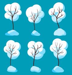 bare trees with branches covered with snow set vector image