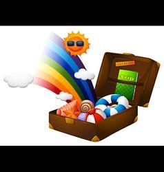Beach gear in suitcase vector