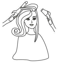 Beautiful woman in hairdressing salon - doodle vector