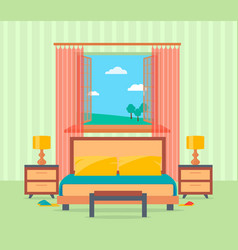 Bedroom interior design in flat style including vector