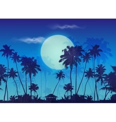 Big blue moon twilight with dark palms silhouettes vector