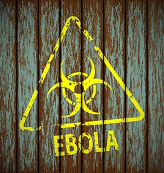 biohazard symbol on a wooden wall vector image