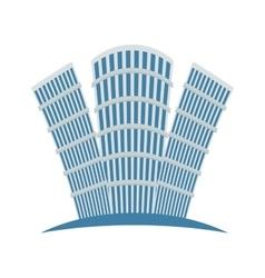 Blue buildings line sticker design vector