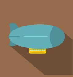 Blue retro dirigible icon flat style vector
