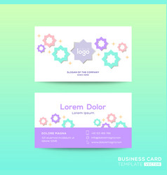 business card design template with bright color vector image