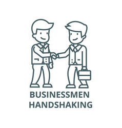 businessmen handshaking line icon vector image