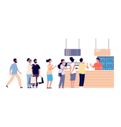 Cafe queue people wait food street food vector