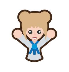 Cartoon japanese girl student uniform vector