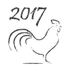 chinese calligraphy - 2017 year rooster vector image