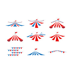 circus tent collection set graphic design template vector image