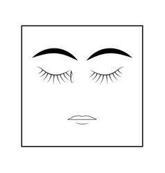 closed eyes and tear woman isolated symbol vector image