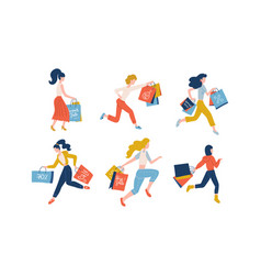collection women carrying shopping bags taking vector image
