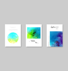 Colorful watercolor modern card set vector