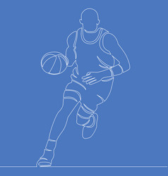 Continuous line basketball player concept vector