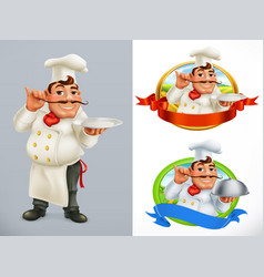 Cook chef character and label 3d icon set vector