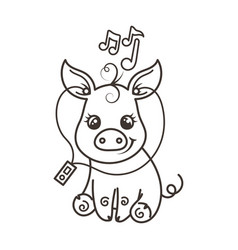 cute cartoon baby pig in a cool rainbow glasses vector image