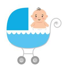cute little boy in bacart transportation vector image