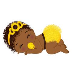Cute little sunflower african american baby girl vector