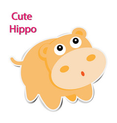 cute paper hippopotamus on white background vector image