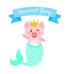 Cute pig with golden crown vector