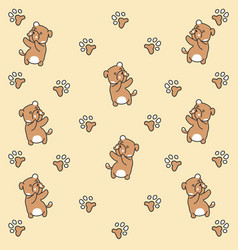 dancing dog pattern paw vector image